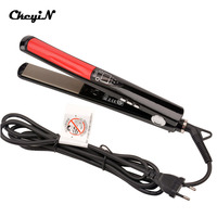 Professional 2 In 1 Ceramic Hair Straightener Digital LED Display Titanium Plates Flat Iron Straightening Irons