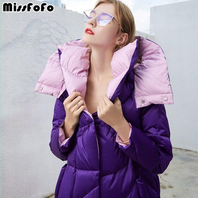 MissFoFo 2018 Новый пуховик белая утка вниз зимнее пальто Женская куртка-парка глобальный торговый фестиваль фиолетовый, черный Размеры S-XXL