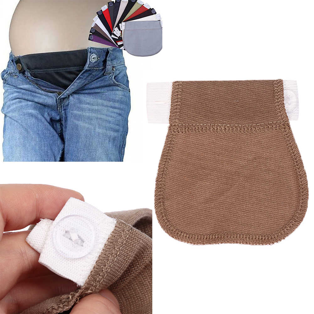 Adjustable Elastic Waist Extender Extended Buckle Maternity Pregnancy Trouser Waistband Belt Easy Fit Pants Button For Pregnancy