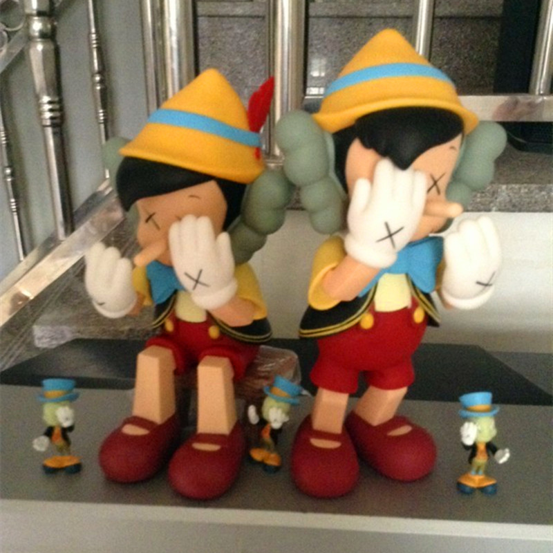 Hot Sell OriginaFake Kaws Companion Pinocchio&Jiminy Cricket Stand/Sit PVC Anime Action Figures With Box Free Shipping DE184 hot selling 38cm originafake kaws companion astro boy high quality action collection