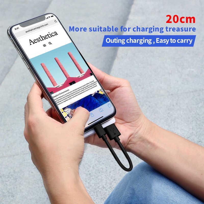 20 سنتيمتر كابل يو اس بي ل فون XS ماكس XR X 8 7 شحن شاحن المصغّر usb كابل 2 في 1 الهاتف المحمول USB نوع c نوع-c كابل