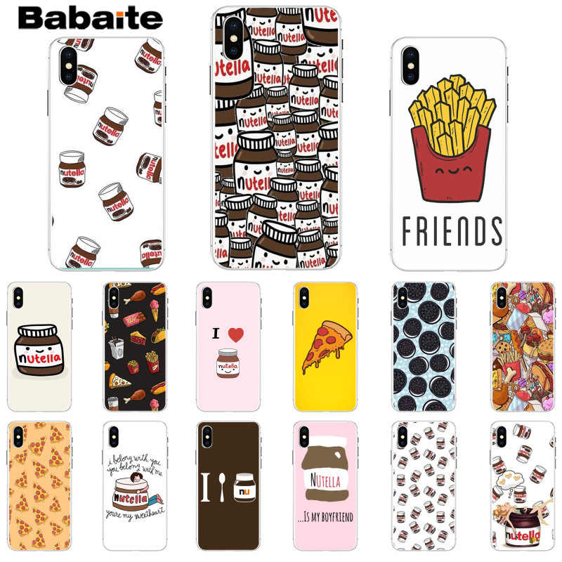 Babaite funny food Chocolate Nutella Printed Pizza French fries burger Phone Case for iPhone 5 5Sx 6 7 7plus 8 8Plus X XS MAX XR