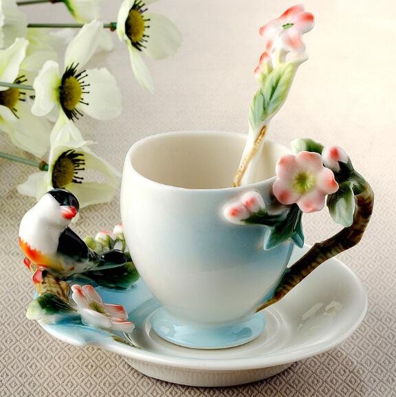 Hot sale Ceramic Cup Magpies Plum Blossom Enamel color Coffee Cup with Saucer and Spoon European