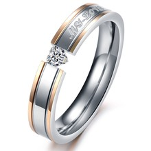 Romantic Heart Design Cubic Zirconia Couple Wedding Rings Fashion Stainless Steel Jewelry Finger Bands For Women Men GJ351