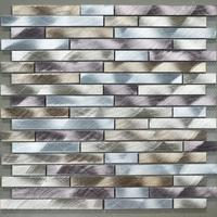 aluminum alloy metal strip mosaic tiles HMM1001A for backsplash kitchen wall sticker bathroom floor tile free shipping