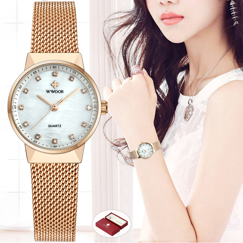 WWOOR Women Watches Quartz Waterproof Rose Gold Dress Ladies Watch Women Brand Luxury Mesh Bracelet Wrist Watch Relogio Feminino