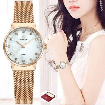 85876ae9a93a WWOOR las mujeres relojes de cuarzo impermeable de oro rosa vestido reloj  de las mujeres de la marca de lujo de malla de pulsera de reloj de pulsera  reloj ...
