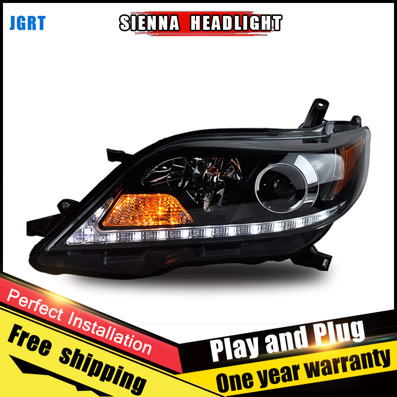 2PCS Car Style LED headlights for Toyota Sienna 11-14 for Sienna head lamp LED DRL Lens Double Beam H7 HID Xenon bi xenon lens hireno headlamp for 2003 2009 toyota land cruiser prado headlight assembly led drl angel lens double beam hid xenon 2pcs