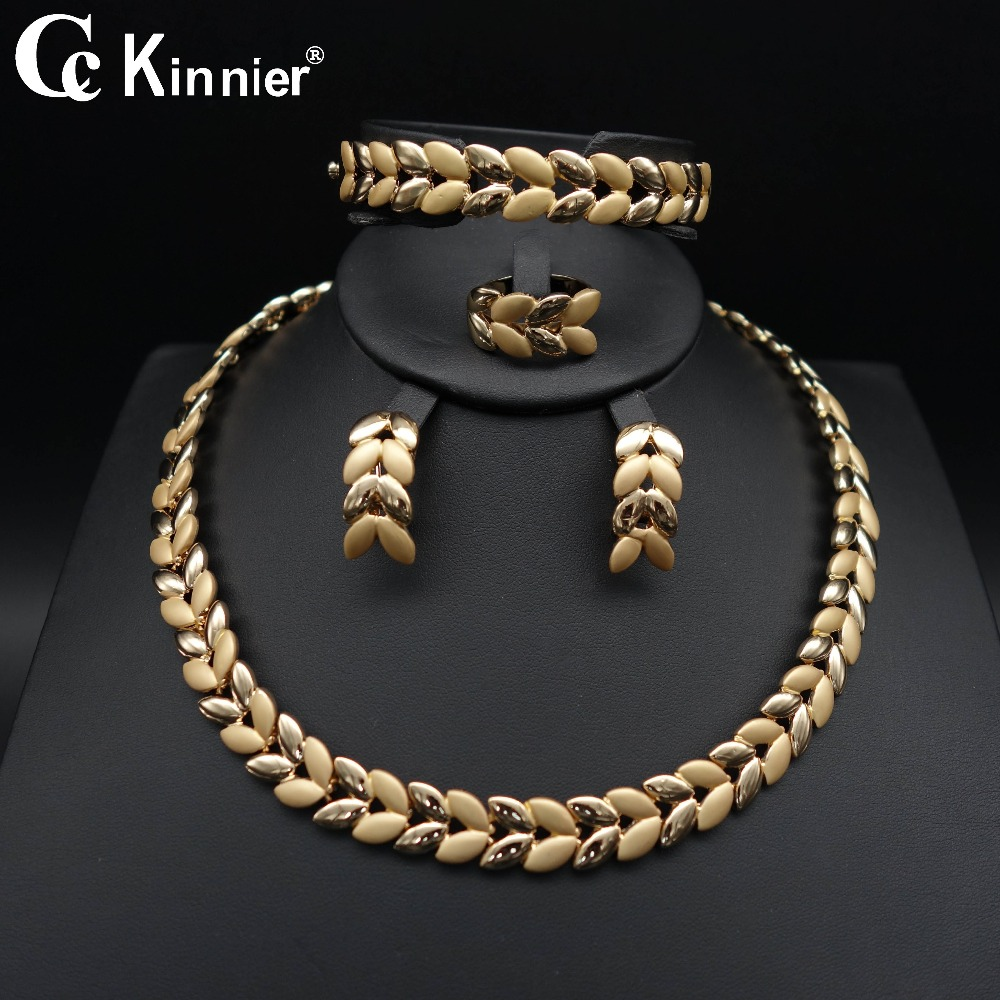 2018 Fashion design Bridal beads wedding Nigerian african Dubai gold-color big necklace for women earrings bracelet  jewelry set