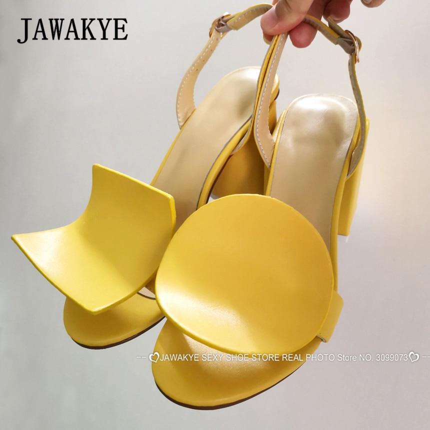 Piste carré cercle Chunky talons sandales femmes jaune blanc Geonetric bloc talons Slingbacks été fête chaussures sandales Mujer