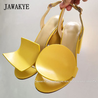 Runway Square circle Chunky heels Sandals Women Yellow white Geonetric Block Heels Slingbacks Summer Party Shoes Sandals Mujer