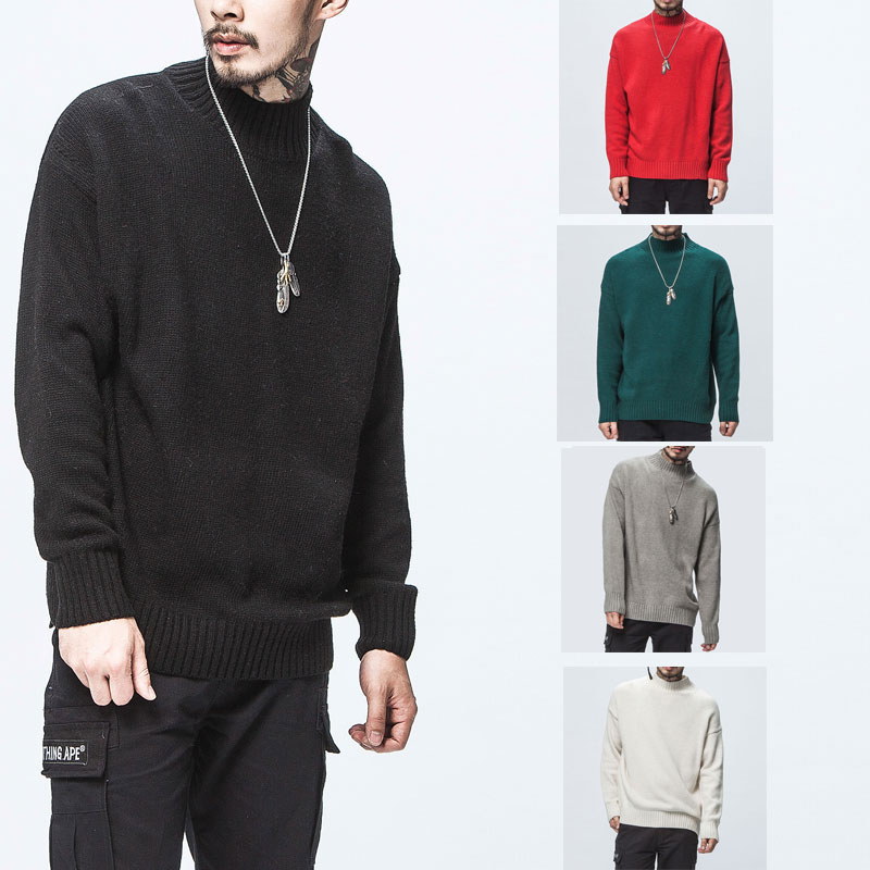Sweater Men Pullover O-Neck Classic Wool Warm Autumn Men's Pure Black M-3xl Solid Casual