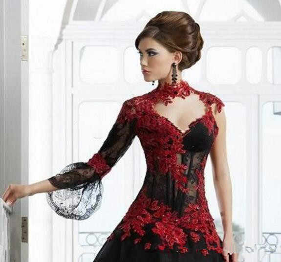 f7da9453d30 Vintage Black and Red Victorian Gothic wedding dresses Masquerade Halloween  2019 Keyhole High Neck Long Sleeve