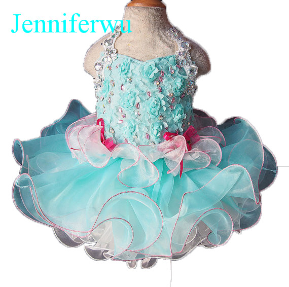 цена 2 pieces  stone beaded  infant and toddler girl pageant  3D lace dress 1T-6T G103 онлайн в 2017 году