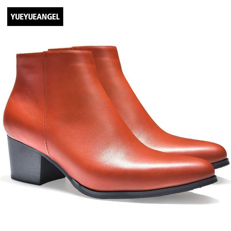 New Winter Mens High Heels Real Leather Boots Pointed Toe Zip Plush Warm Ankle Boots Work Safety Career Wedding Party Men Shoes цены онлайн