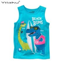 Summer Boy T Shirt 2017 New Fashion Dinosaur Print Clothes For Kids Cotton Sleeveless T-shirt Baby Boys Tees Tops CG257