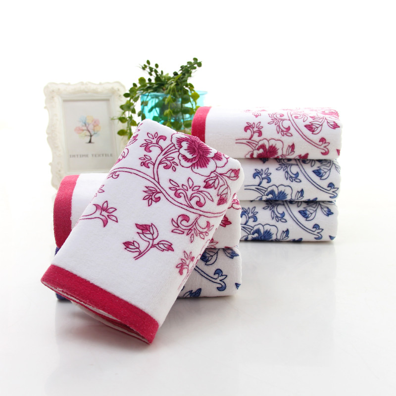 1pc 34*74cm Soft Cotton Face Flower Pattern Design Towel Bamboo Fiber Quick Dry Towels Home Textiles Bath Towels For Adults pink floral towels