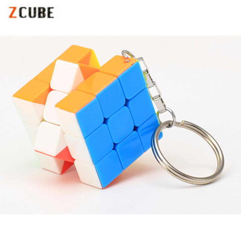 Zcube 3cm Keychain Magic Cubes 3x3x3 Speed Puzzle Multicolor Cube Educational Toys for Children