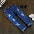 (5 pieces / lot) -2017 new spring and summer Korean boys and girls denim paint holes in jeans Size 100-140