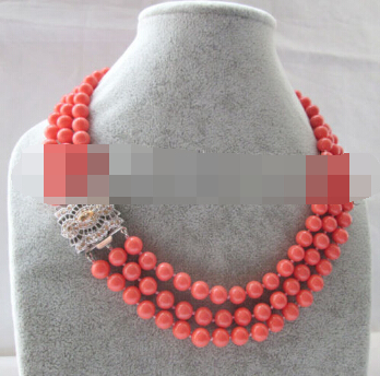 """FREE SHIPPING>>>AAA 3row 17"""" 8mm natural perfect round pink coral necklace - gild zircon cla"""