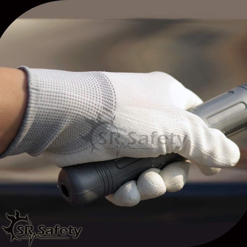 цена на SRSAFETY 1 Pairs 13G White Nylon Coated White PU On Palm Safety Working Gloves