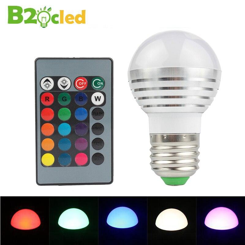 2 Pcs 3W RGB bulb light E27 with remote control bulb ...