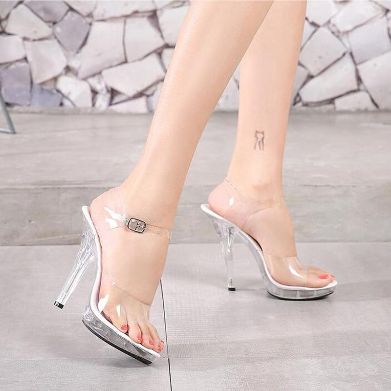Dwayne <font><b>12</b></font> <font><b>CM</b></font> Height Crystal Slippers Female Summer Waterproof Platform Non-slip Thick Sole Transparent PVC <font><b>Sandals</b></font> Womens Pumps image