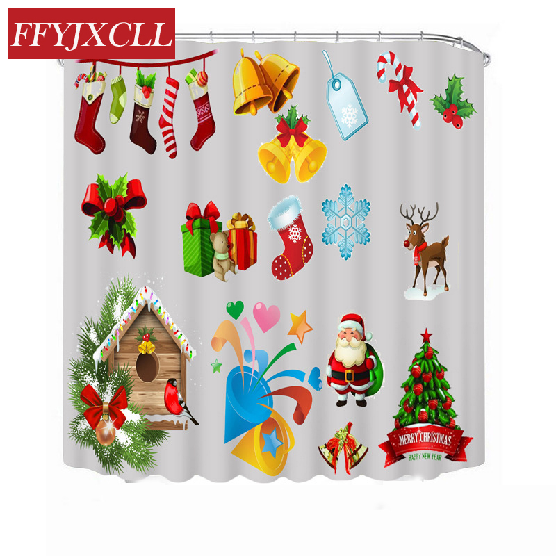 Children Christmas Decoration Cartoon Polyester Waterproof Fabric Shower Curtain Eco-Friendly Bathroom Curtain With 12 Hook