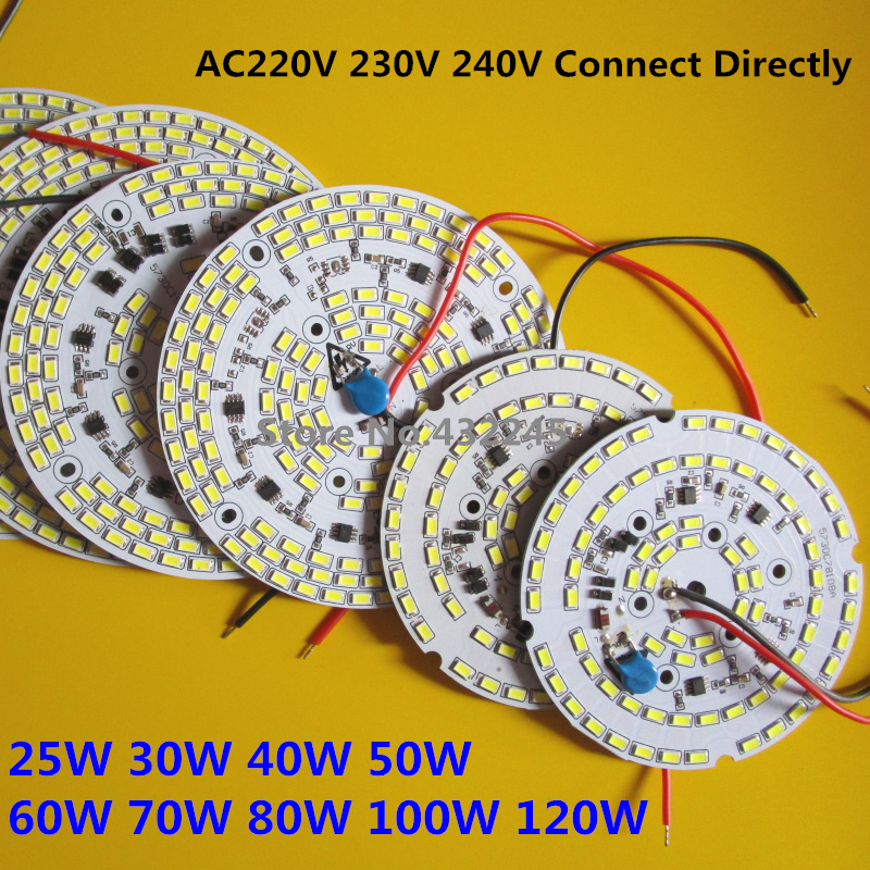 Free Shipping 2pcs Dimmable SMD 5730 Integrated IC PCB Bulb Panel 25w 30w 40w 50w 60w 70w 100w Driverless Led PCB Light .