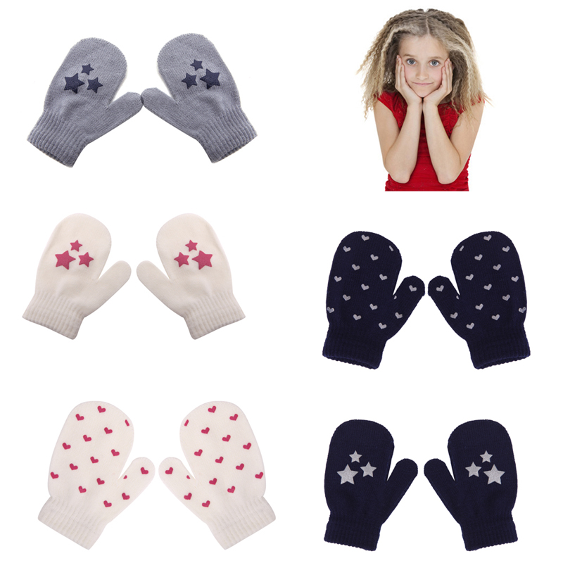 Mother & Kids Gloves & Mittens Winter Baby Gloves Full Fingers Boys Girls Mitten Knitting Star Pattern Warm Gloves Infants Mittens With Rope Sa935298