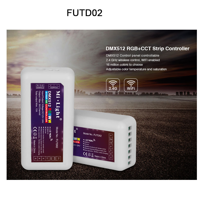 FUT035 FUT036 FUT037 FUT038 FUT039 FUTD02 milight 2,4g einzigen farbe CCT RGB RGBW DMX512 RGB + CCT dimmer led streifen controller