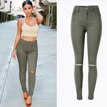2017 Spring Popular Street Style Women Cloth Skinny Jeans Army Green High Waist Slim Stretch Jeans Star Hot Select Denim Pants