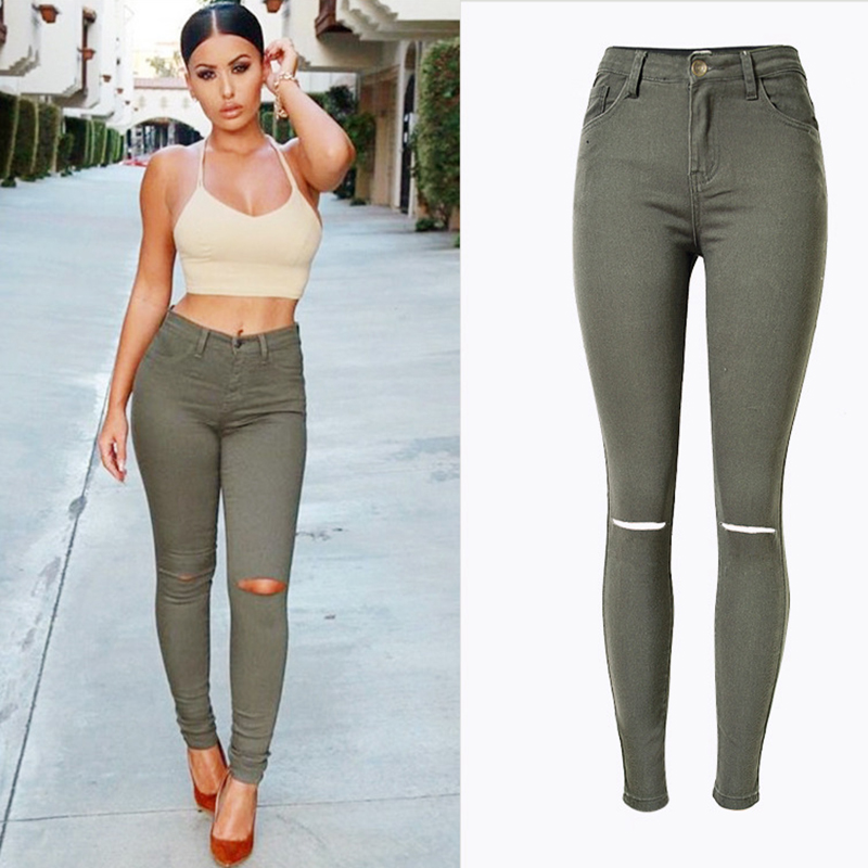 Fashion Street Style Women Skinny Denim Pants Jeans Army Green High Waist Stretch Jeans Trousers Hot Select Female Denim Pants women jeans autumn new fashion high waisted boyfriend street style roll up bottom casual denim long pants sp2096