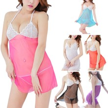 68fd4dc69 Womens See Through Lace Bra Nightgowns Sexy Lingerie Backless Sleepwear  Babydoll Sleeveless Mesh Nightdress Halter V-Neck Kimono