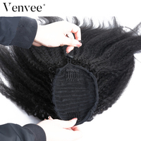 Brazilian Kinky Straight Hair Ponytail Extensions 100% Coarse Yaki Human Hair Ponytail Clip Ins Virgin Real Hair Salon Venvee