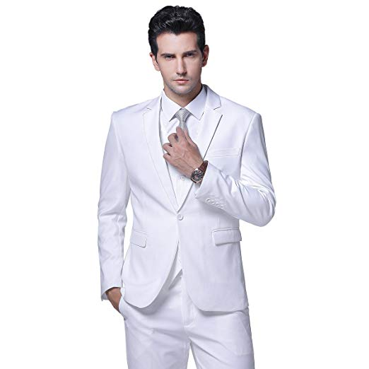 White Slim Fit Men Suit Wedding Tuxedo Formal 2 Pieces Modern Blazer Suit Terno Masculino Traje Hombre Groom Suit