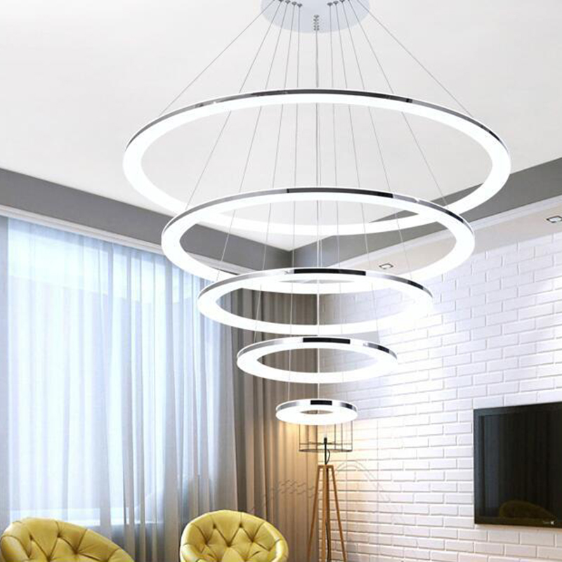 Modern Chandelier 4 Acrylic 100x80x60x40cm Lamps Ring LED Chandelier Fashion Designer Hanging Circle LampModern Chandelier 4 Acrylic 100x80x60x40cm Lamps Ring LED Chandelier Fashion Designer Hanging Circle Lamp