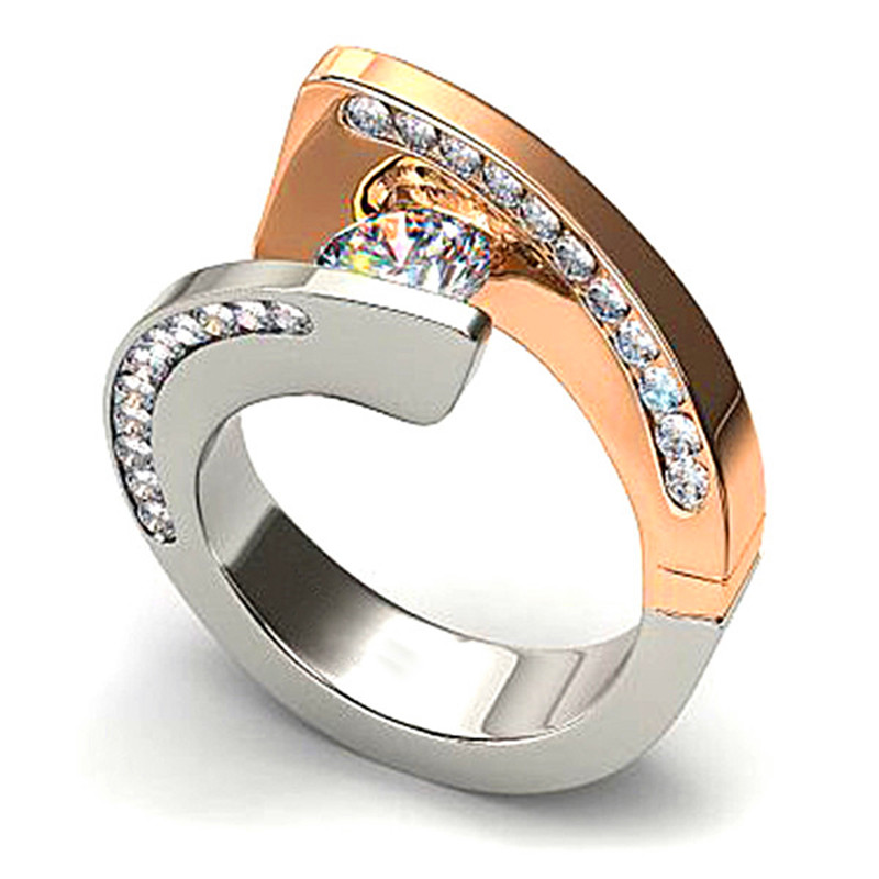 2019 New Fashion Luxury Women Silver Gold Engagement Ring Unique