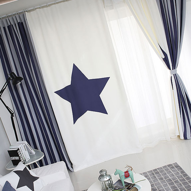 Quality Patchwork Drapery Panel Living Room Window Dressing Drape Draw Wave Grommet Curtain Custom Made Star