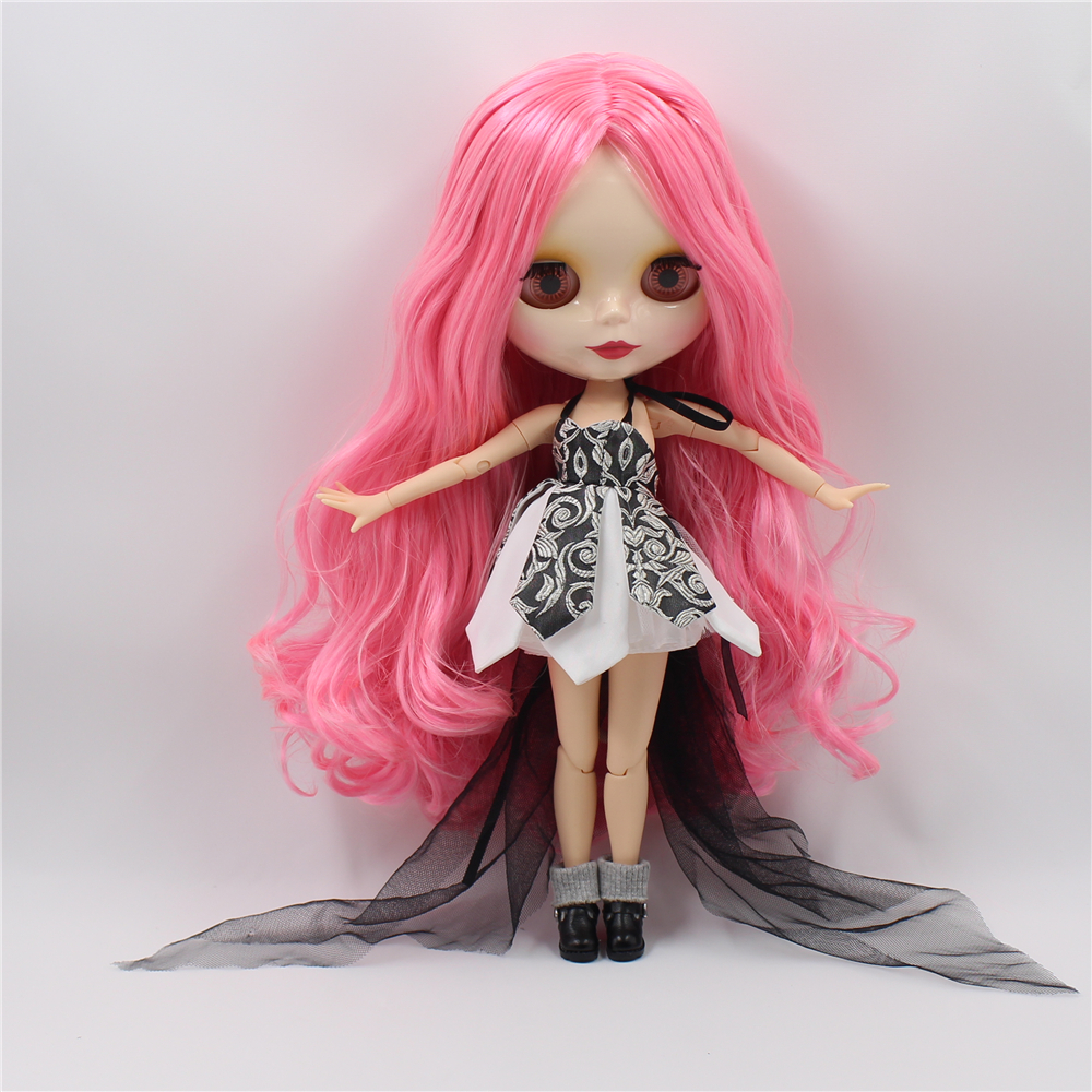 Nude Blyth doll Joint body with Deep pink hair DIY fashion makeup doll toys 30cm high bjd blyth dolls for sale nude blyth doll with joint body long hair bjd 1 6 doll 12 fashion b female blyth dolls diy toys
