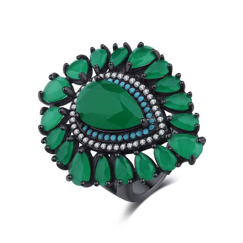 Ruifan Luxury Green Glass Cubic Zirconia Turquoise Personalized Rings for Women Vintage Black 925 Sterling Silver Ring YRI116 vintage 7 pcs set faux turquoise embossed rings for women