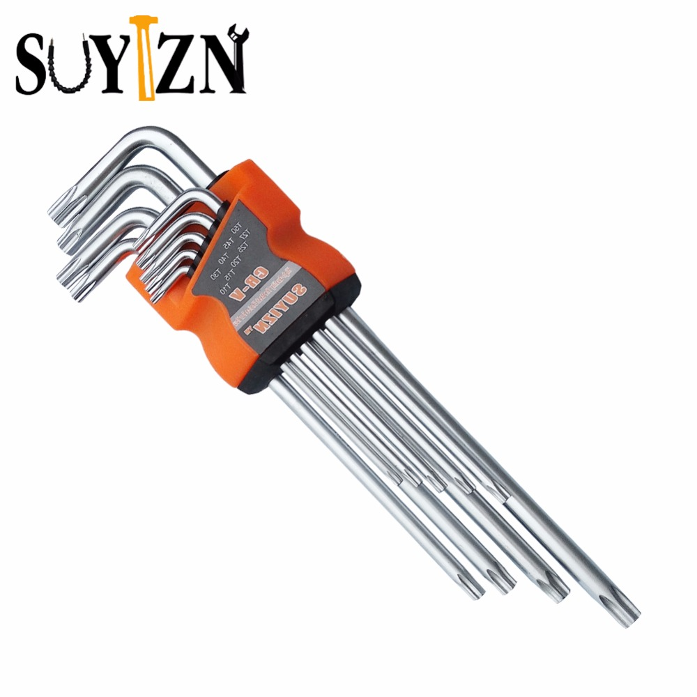 suyizn high quality 9 pcs 50hrc durable wrench torx key set l shape tool screwdriver hollow auto. Black Bedroom Furniture Sets. Home Design Ideas