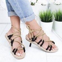 Summer Women Flat Scandal Peep Hemp rope Toe Weaving Sandals Buckle Strap Open T