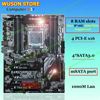 Discount motherboard with 8 DDR3 RAM slots Runing Super X79 LGA2011 motherboard with 4 SATA3.0 ports 4 PCI E x16 slots mSATA