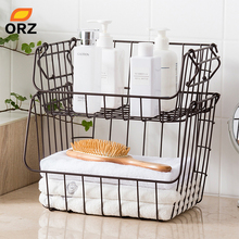 ORZ Metal Wire Storage Basket Stackable Kitchen Fruit Container Bin Bathroom Shelf Rack Table Closet Organizer