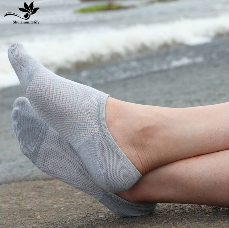 5 Pairs/lot Socks Men Hot-sell Socks Classic Male Brief BAMBOO Fiber Cotton Invisible Man Net Sock Slippers Sox Shallow Mouth