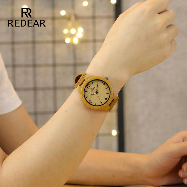 REDEAR Lover's Watches Classic Wooden Bamboo Watches With Night Light Pointer Real Leather for women Unisex in Gift Box