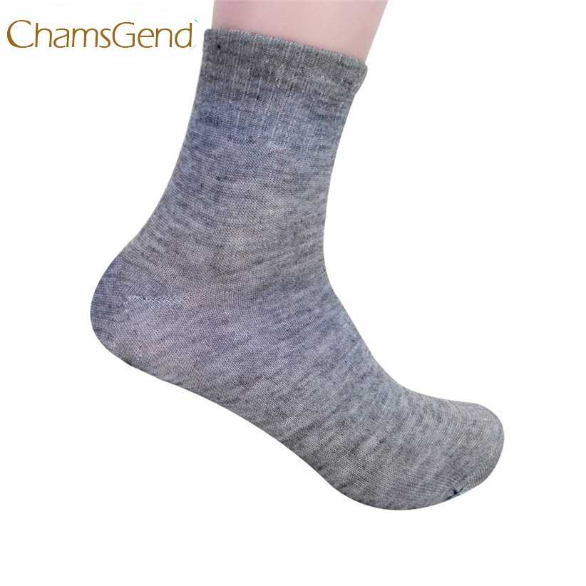 Chamsgend Drop Shipping Men's Solid Bamboo Cotton Fiber High Ankle Socks 170703