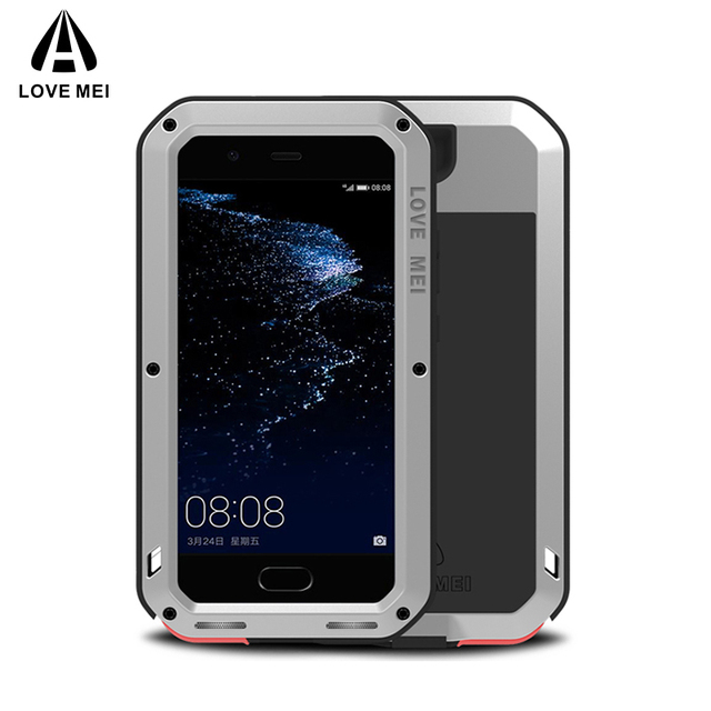 Love Mei Métal étui pour Huawei P10 P10 Plus Antichoc Couverture de Téléphone Pour Huawei P10 Plus Robuste Corps Entier Anti Chute Étui Darmure