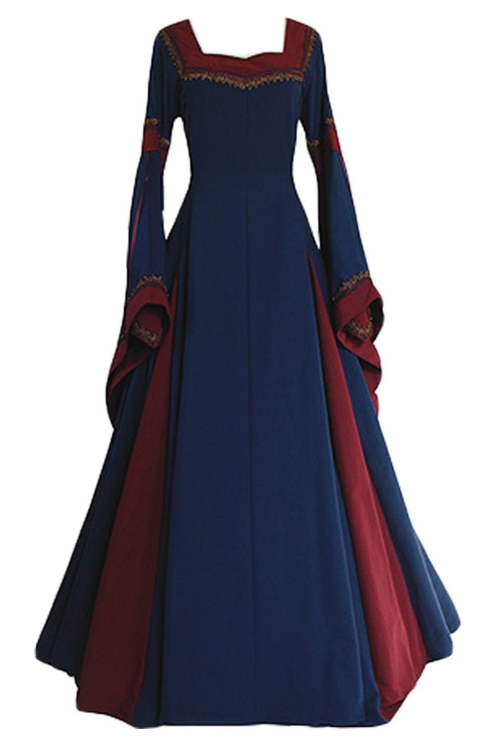 Collar Long-sleeved Horn Sleeve Long Dress Medieval Dress Women Renaissance Medieval Dress
